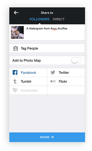 Instagram Share screen in iOS app