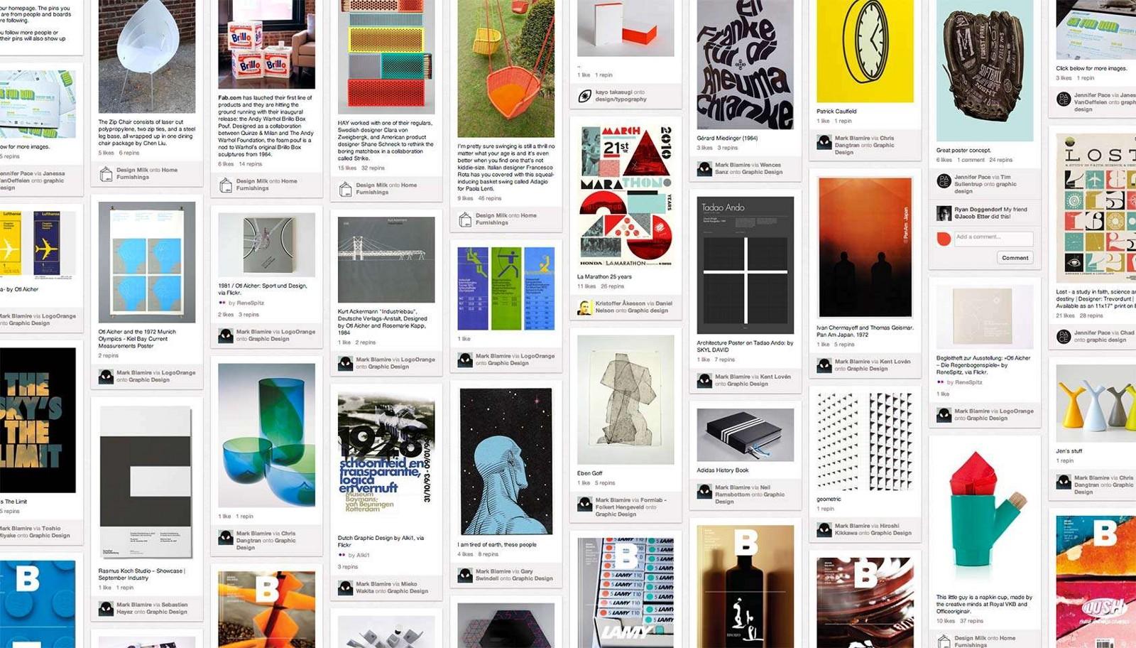 Pinterest user interface for desktop.