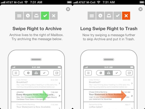 Onboarding tutorial in Mailbox app for iOS