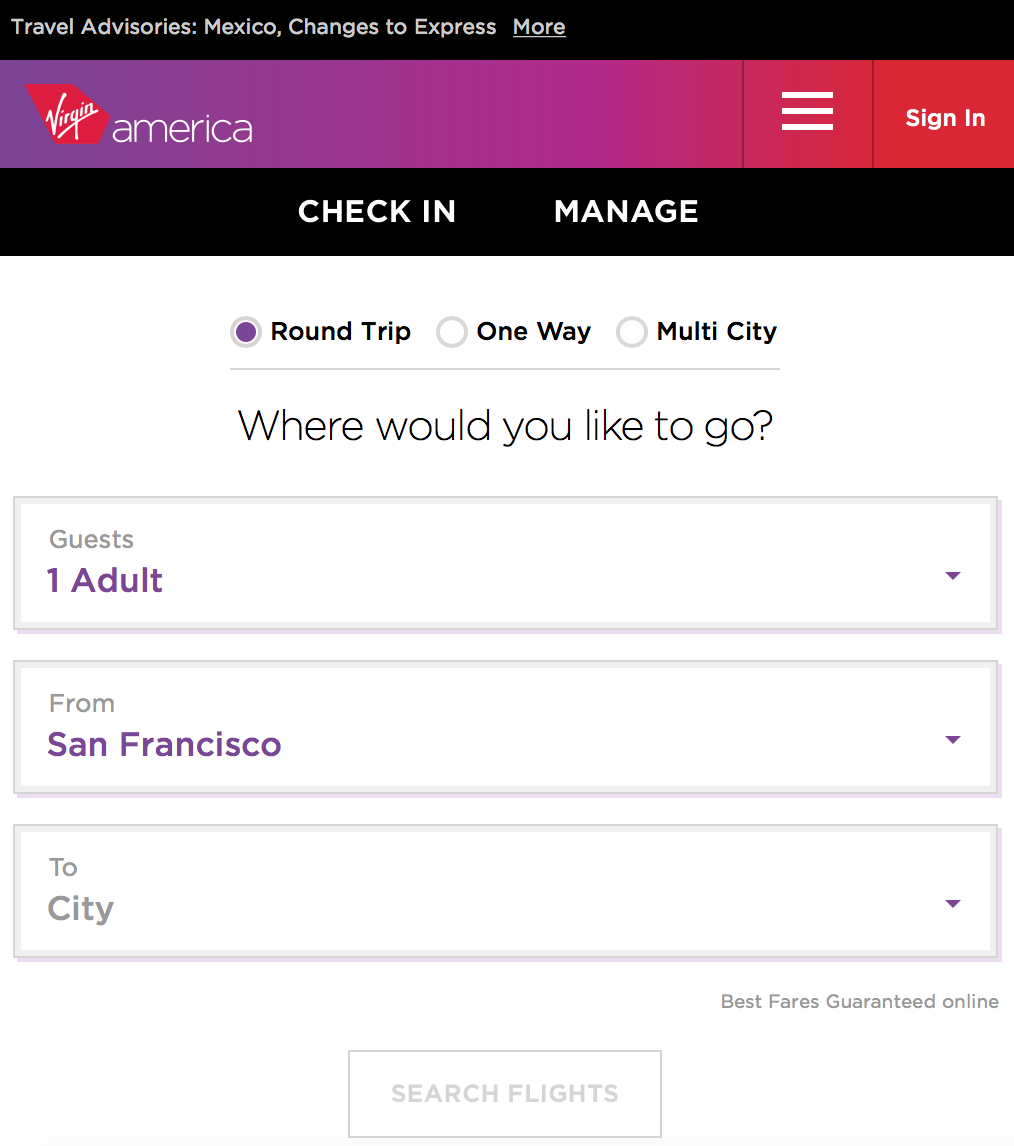 "Virgin Mobile for a mobile device. Critical features ""Check In"" and ""Manage"" available on the main scree. Here hamburger menu used as an addition."