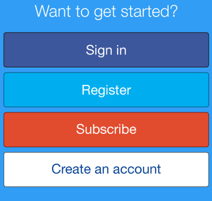 Sing in / Register / Subscribe / Create an account.
