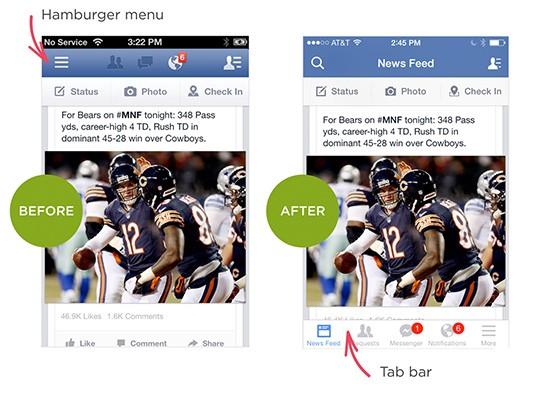 Facebook iOS Application Interface