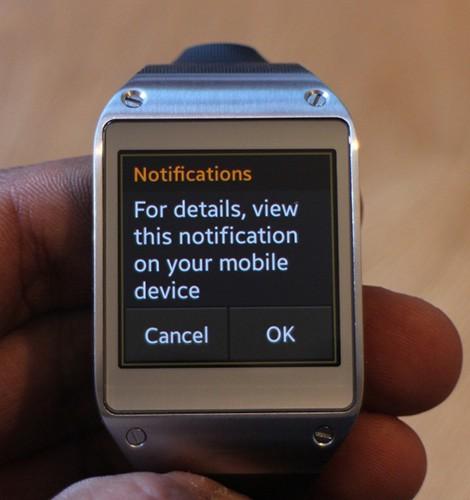 Meaningless notification on smart watch screen
