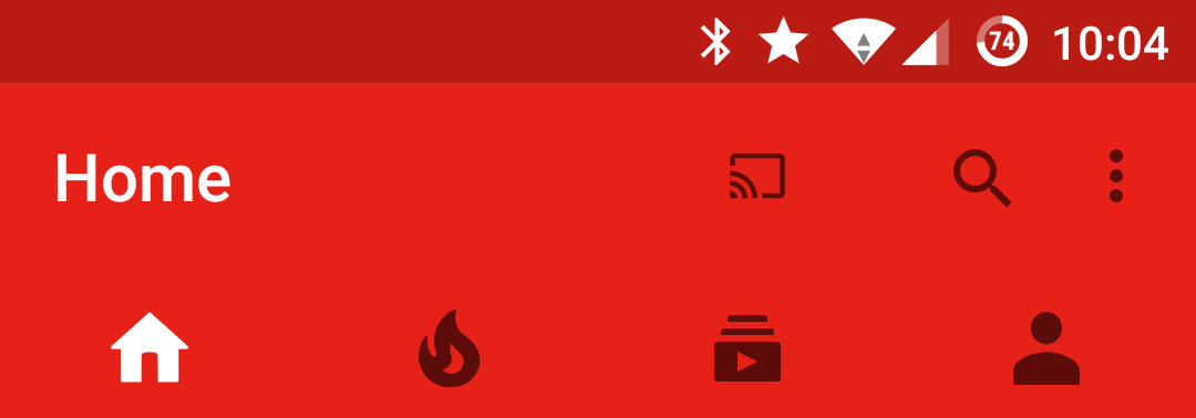 House icon for Home in YouTube app for Anroid.